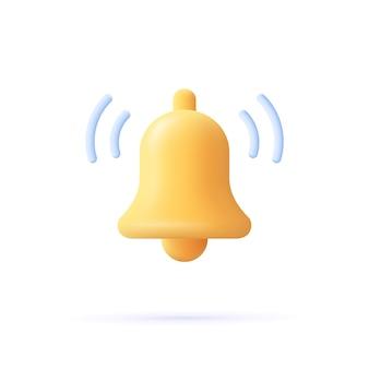 Alerta de ícone de sino de mensagem de notificação e ícone de alarme. ilustração em vetor 3d.