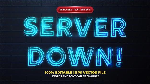 Alerta de inatividade do servidor, brilho elétrico azul e efeito de texto editável em negrito