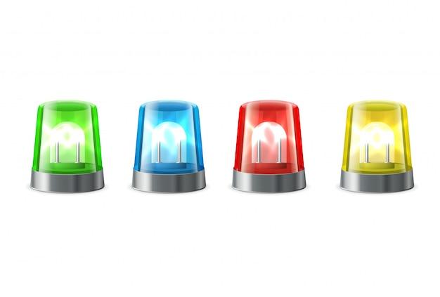Alerta de sirene, luzes piscando em vermelho, azul, amarelo, cores verdes, sinais de alerta e de emergência,