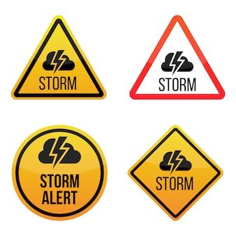 Alerta de tempestade. rótulos de sinais de aviso. amarelo e vermelho isolado no fundo branco