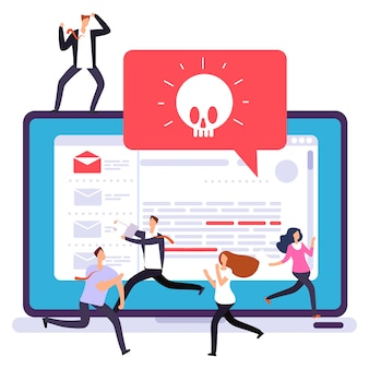 Alerta de vírus de laptop, ataque de hackers. pânico no escritório devido a ataque de hackers na ilustração do computador