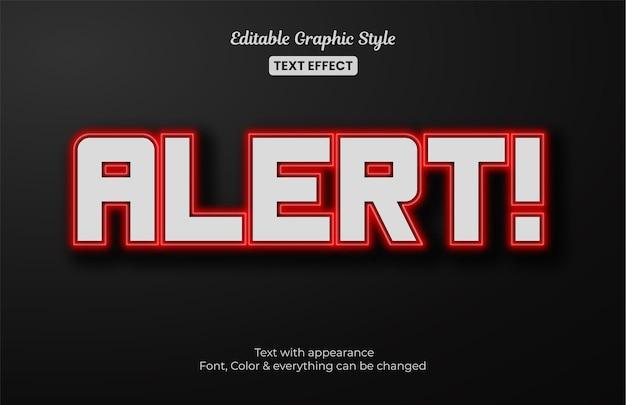Alerta vermelho, efeito de estilo de texto editável