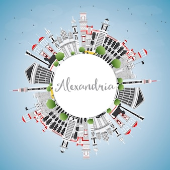 Alexandria egito city skyline com gray edifícios, azul céu e espaço de cópia. ilustração vetorial. viagem de negócios e conceito de turismo com arquitetura histórica. alexandria, paisagem urbana com pontos turísticos.