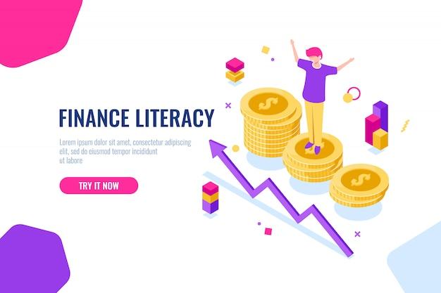 Alfabetização financeira isométrica, contabilidade de dinheiro, ilustração econômica com a mulher que está no pódio