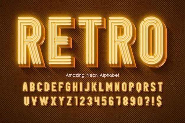 Alfabeto 3d com luz de néon brilhante modelo de composição moderna