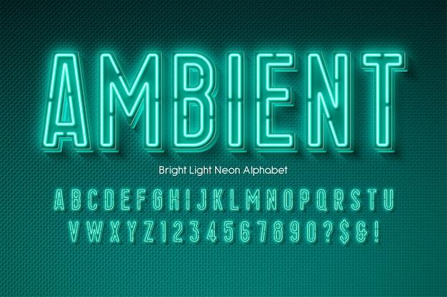 Alfabeto 3d da luz de néon, fonte moderna brilhante extra.