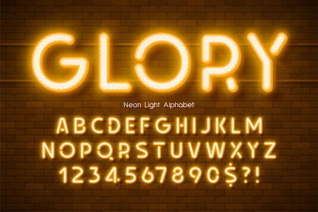 Alfabeto 3d da luz de néon, tipo moderno brilhante extra.