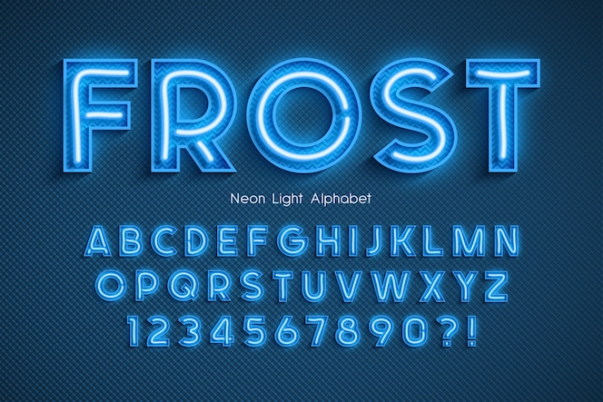 Alfabeto 3d de luz de néon, fonte brilhante extra.
