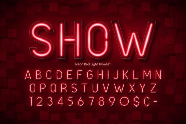 Alfabeto 3d de luz de neon, fonte brilhante extra