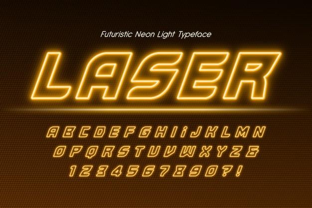 Alfabeto 3d de luz de néon, tipo moderno extra brilhante. controle de cores de amostra. 20 graus de inclinação