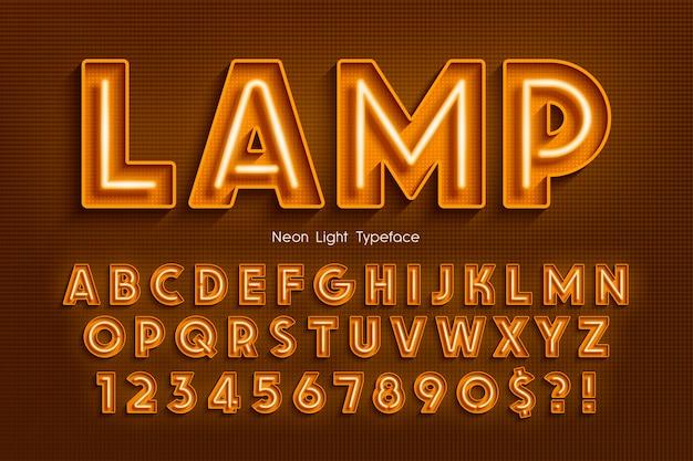 Alfabeto 3d de luz de neon