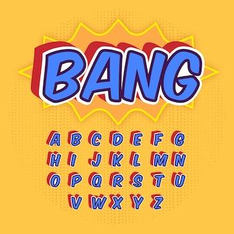 Alfabeto 3d em quadrinhos de a a z