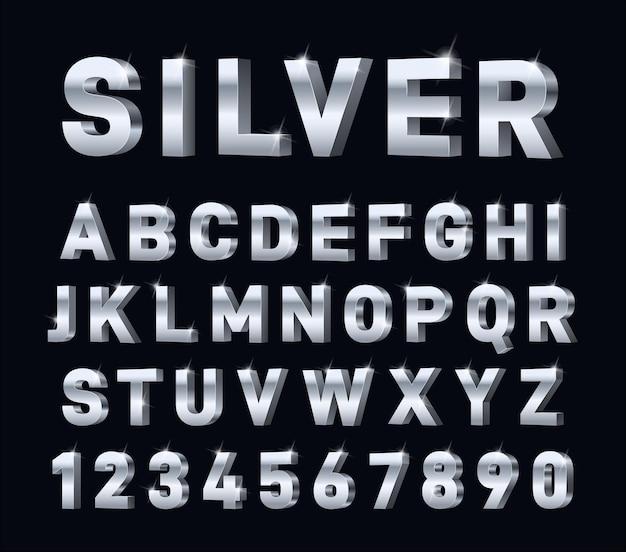 Alfabeto 3d prateado