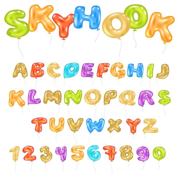 Alfabeto abc balão crianças fonte alfabética com hélio cor letras e números para ilustração de festa de aniversário do conjunto alfabético dos desenhos animados, isolado no fundo branco