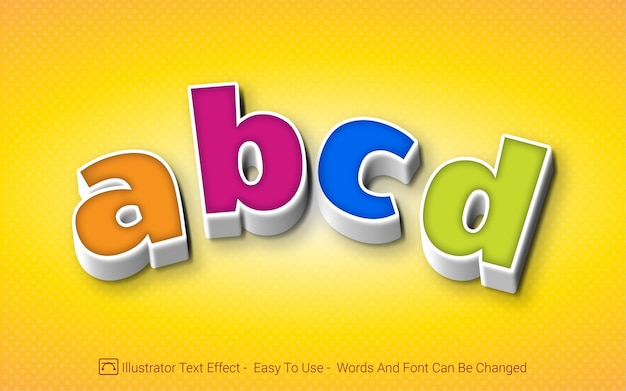 Alfabeto abcd - estilo de efeito de texto editável