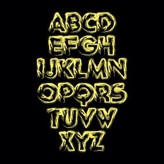 Alfabeto abstrato vector com textura desenhada de mão