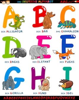 Alfabeto alemão de desenhos animados com animais