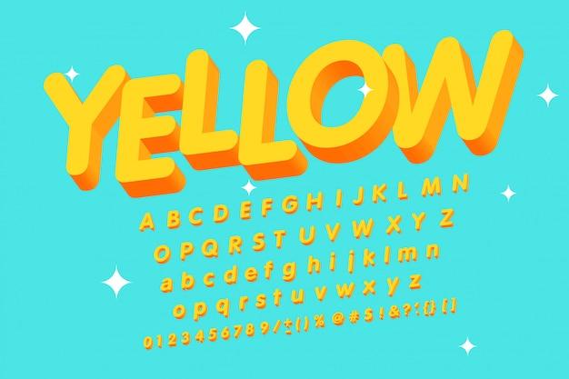 Alfabeto amarelo 3d vintage