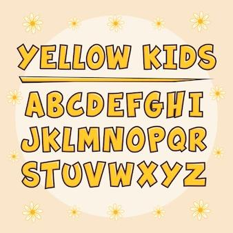 Alfabeto amarelo para crianças