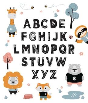 Alfabeto animais fofos desenhados à mão para crianças