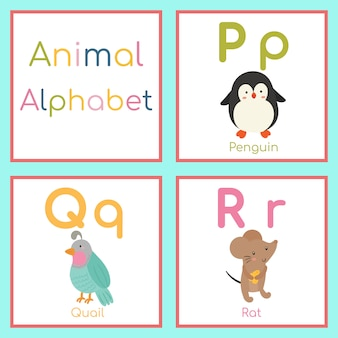 Alfabeto animal bonito. p, q, letra r. pinguim, codorniz, rato.