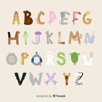 Alfabeto animal com ilustrações adoráveis