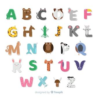 Alfabeto animal desenhado de mão