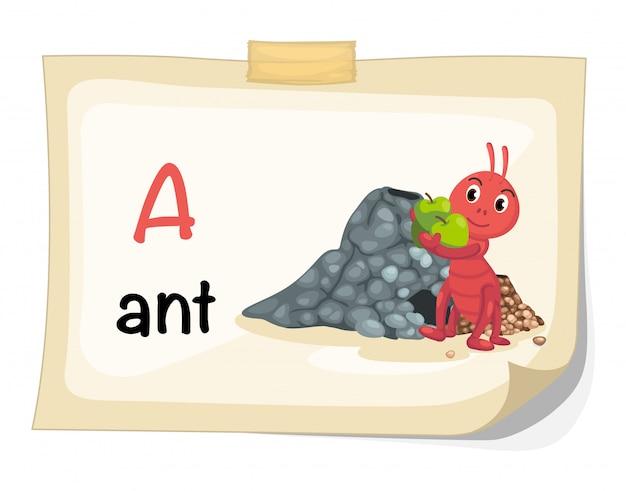 Alfabeto animal letra a para vetor de ilustração de formiga