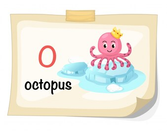 Alfabeto animal letra O para vetor de ilustração de polvo