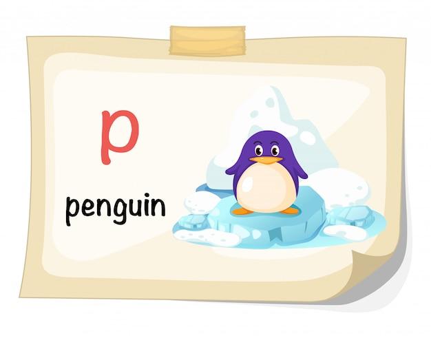 Alfabeto animal letra p para vetor de ilustração de pinguim