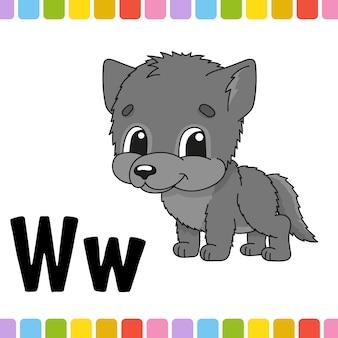 Alfabeto animal. zoo abc. animal bonito dos desenhos animados