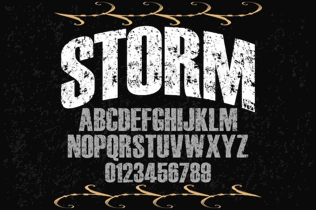 Alfabeto artesanal rótulo design tempestade