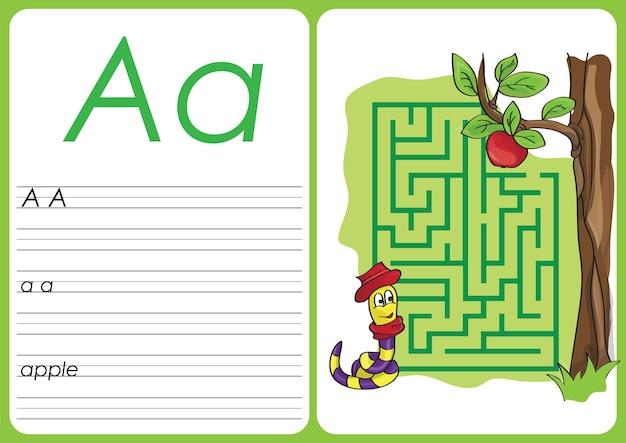 Alfabeto az - a - planilha de quebra-cabeça de maçã, exercícios para crianças