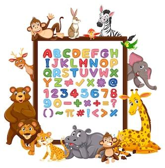 Alfabeto az e símbolos matemáticos em um quadro com animais selvagens