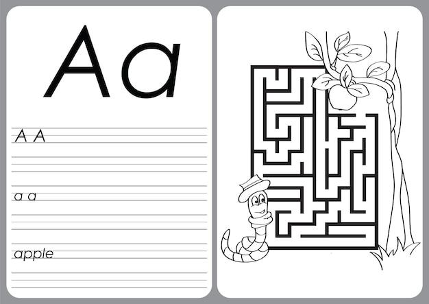 Alfabeto az - planilha de quebra-cabeça, exercícios para crianças - livro de colorir