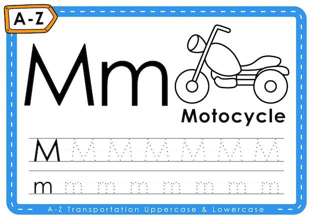 Alfabeto az transporte rastreamento letras planilha