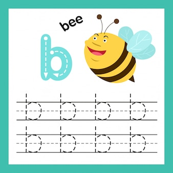 Alfabeto b exercício com ilustração de vocabulário dos desenhos animados, vetor