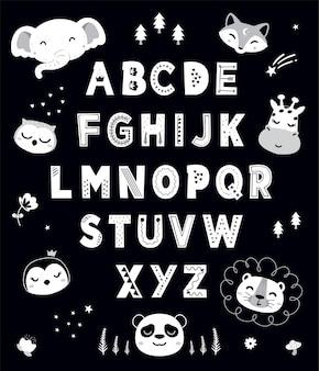 Alfabeto bonito com cabeça de animais monocromático desenhado à mão para crianças