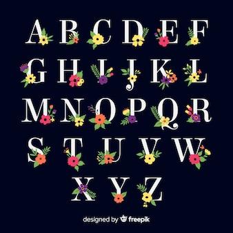 Alfabeto bonito com flores