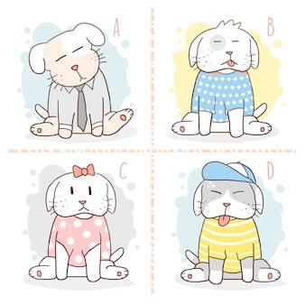 Alfabeto bonito do filhote de cachorro do animal