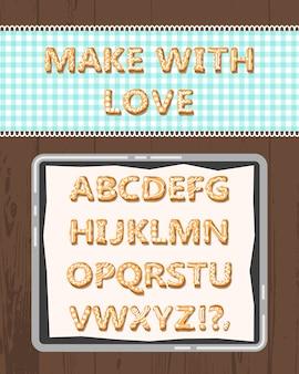 Alfabeto bonito dos desenhos animados do vetor feriados cookies
