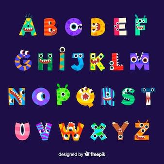 Alfabeto bonito monstro de halloween