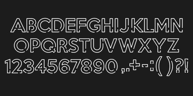 Alfabeto branco fontes e números com pontos.