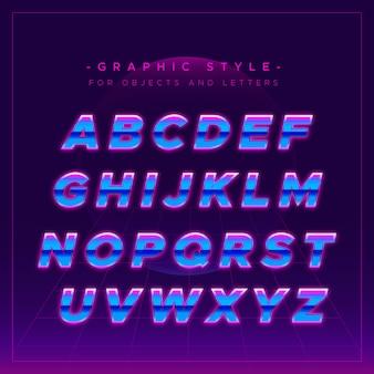 Alfabeto brilhante em estilo neon