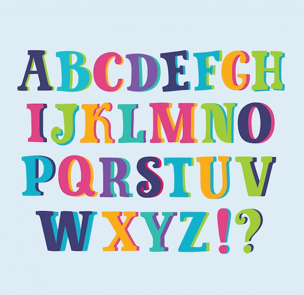 Alfabeto brilhante multicolorido com fundo de espaço