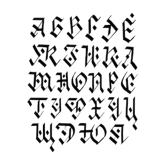 Alfabeto cirílico de caligrafia.