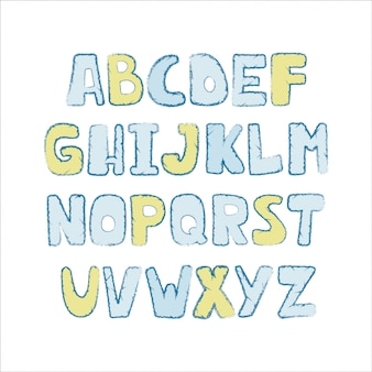 Alfabeto colorido bonito com curso textural.