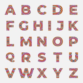 Alfabeto colorido com desenho de mandala