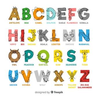 Alfabeto colorido com design plano de nomes de animais