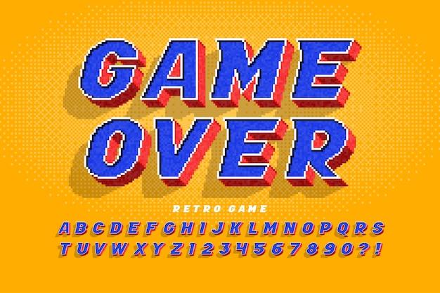 Alfabeto colorido de 8 bits com design de logotipo